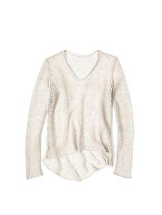 Leather Trim Sweater