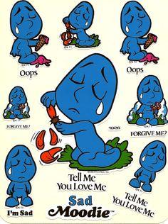 Vintage 80's Sad Moodies by Kent Vinyl Sticker by Stuckonstickers, $3.00