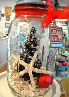 holiday, christma jar, beachi christma, jar diy, christmas jars, christma decor, beach christmas decorations, jar lids, coastal christmas