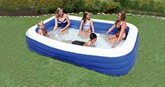 A perfect size and a great look for your summer fun, the Ocean Blue Rectangle Kiddie Pool lets you add some splash into your backyard. #BYOpooltoys #endofsummer