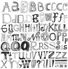 Hand drawn alphabet Royalty Free Stock Vector Art Illustration