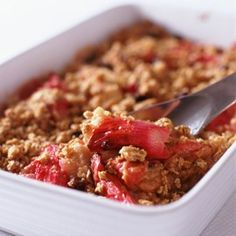 Make the most of autumn's seasonal fruit with our classic roast rhubarb and apple crumble recipe - what fruit do you like in a crumble?