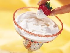 Margarita Fruit Dip (this is always a hit--I purchased an oversized margarita glass at Pier One Imports--rub the rim of the glass with a lemon, orange or lime half, then dip into colored sugar)