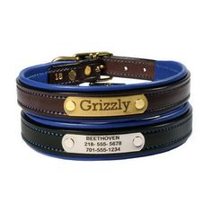 Elegant, Practical and Comfortable. Personalized leather dog collar.