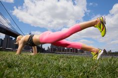 Take your plank to the next level with the Tripod Plank - lifting one leg off the ground means less stability; more core work. #fitnessmagazine