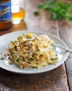 Chipotle Sweet Corn Fettuccine Pasta Recipe.