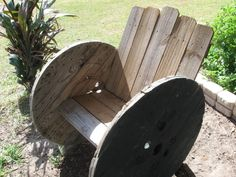 wood reel chair