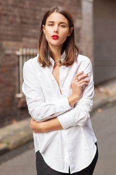 r. style, white shirts, men shirts, black white, red lips, classic white, beauti, long bobs, hair