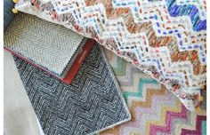 Chevron fabrics can be used in cushions and upholstery to add some colour and pattern to a room.