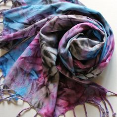 Fringed Scarf  Hand Painted Rayon Ladies Scarves by Palettepassion, $36.00