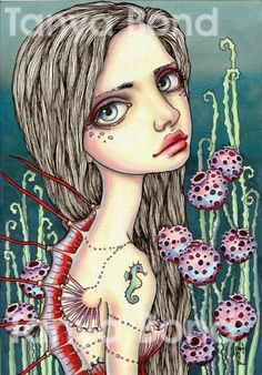 KENZO  surreal pop fantasy art girl mermaid 5x7 print by tanyabond
