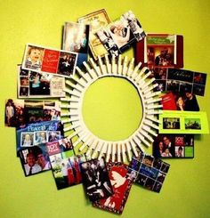 DIY Clothespin Picture Frame... This would be adorable painted, to match your decor!