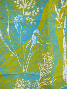 Vintage Dish Towel Seahorse Chartreuse Aqua Zuzek by hensfeathers, $45.00