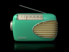 Green Old Fashioned Transistor Radio