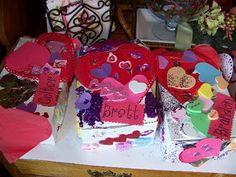 Decorated Valentine boxes