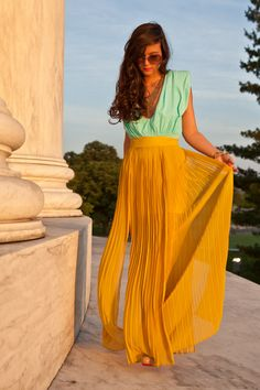 I'm in love with the colour! mint top + mustard maxi skirt.