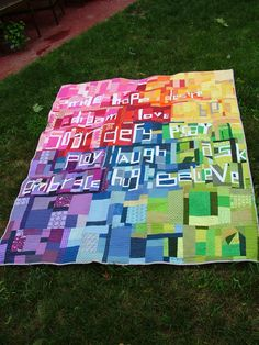 lovely rainbow words and made fabric by Kelli. UnRuly Letters