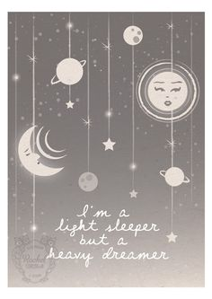 Moon and Stars Digital Print - Original Illustration - Typography Quote - Astrology - Dreamer - Night Sky - Sun - Pink - Gray - Turquoise via Etsy