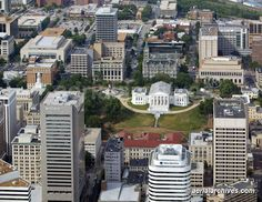 Aerial photograph of Virginia State Capitol Building & Central Business District Office Buildings....Richmond, Virginia
