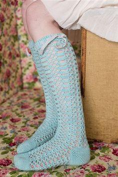 Crochet socks! I love the openwork crochet lace of these socks. Chablis Socks