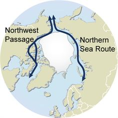Arctic sea routes - Northern sea route and Northwest passage