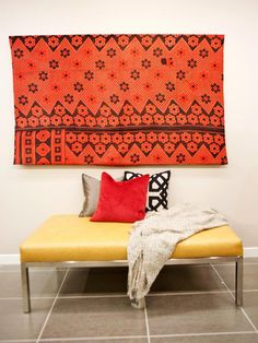 Hilari Used a Mounted Indian Blanket as Textural Wall Art