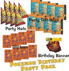 Pokemon Birthday Party Bundle (25 pieces), Featured Deal on Sale for only $9.95 with Free Shipping at http://www.tweetthatdeal.com birthday parties, favor gift, birthdays, parti bundl, pokemon birthday, birthday idea, gift bag, sponsor deal, banner