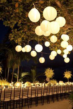 wedding receptions, chinese lanterns, reception ideas, dinner parties, wedding lanterns, light, outdoor weddings, outdoor receptions, long tabl