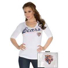 Touch by Alyssa Milano Chicago Bears Ladies End Line Slim Fit V-Neck T-Shirt - White