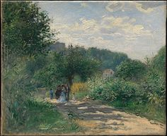 Auguste Renoir (French, Limoges). A Road in Louveciennes, ca. 1870. The Metropolitan Museum of Art, New York. The Lesley and Emma Sheafer Collection, Bequest of Emma A. Sheafer, 1973 (1974.356.32) | This picture, which is in effect drawn directly with paint, was almost certainly executed out-of-doors about 1870. The site is in the village of Louveciennes, west of Paris, where Renoir's parents had a summer home.