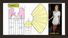Modelagem de vestido com recortes abertos nas laterais da cintura da Sabrina Sato. Fonte: ModelistA: CUT OUT