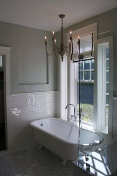 glass shower with claw foot tub