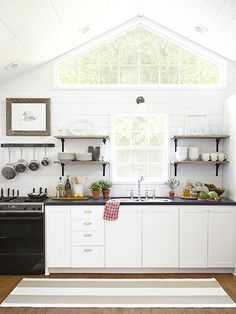 a tiny wyoming cabin white kitchen, kitchen idea, decorating ideas, chalkboard paint, windows, hous, country kitchens, decor idea, open shelving
