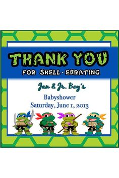 Baby Shower Ninja Turtle Thank You cards