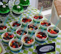 dessert tables, food displays, fruit salads, theme parties, party desserts, golf party, fruit cups, golf parti, fruit displays