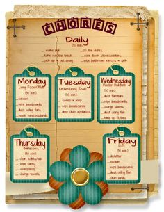 Weekly Chore Schedule - Home Ec 101: Home Ec for Adults and Those