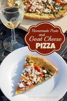 homemade pesto & goat cheese pizza via @J O-Lynne Shane