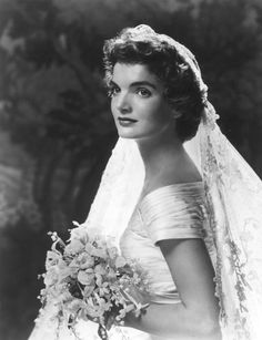 Formal wedding portrait of Jacqueline Bouvier Kennedy.    Date: September 12, 1953