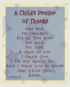 A Child's Prayer of Thanks- Click through for more prayer ideas for children!