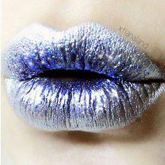 sparkle lips, levre, winter lip, silver lips, wonder lip, blue silver, blue and silver makeup