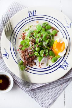 fava and quinoa salad w/ soft-boiled egg.