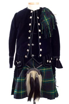 Boy's green and black Scottish kilt outfit, 1910s, was made by Romanes & Paterson, Edinburgh. Charleston Museum kilt outfit, scottish kilt, museum