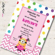 Girl Minion Birthday Invitation Printables