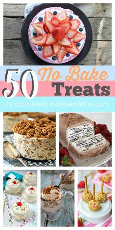 50 no bake treats, no bake desserts, cheesecake bars, chocol chocol, no bake chocolate desserts