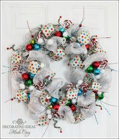 Whimsical Christmas Wreath by JenniferDecorates on Etsy, $95.00