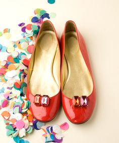 red shoes and confetti