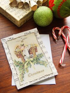 How to Make a Vintage Sheet Music Christmas Card