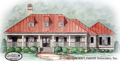 Baisden Bluff Hall House Plan # 09627, Front Elevation, Tidewater Style House Plans, One Story House Plans
