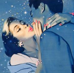 She definitely thought he was dreamy! #vintage #1950s couple #romance #painting