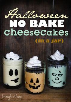 @Chelsey Schenavar   (Pistachio cheesecake!!)  halloween no bake cheesecakes in a jar